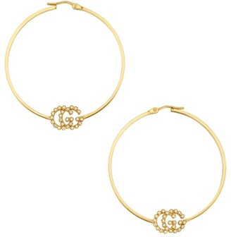 Gucci Running GG 18K Yellow Gold & Diamond Logo Hoop Earrings