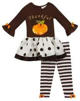 Rare Editions Baby Girls Two-Piece Pumpkin Top and Striped Leggings Set