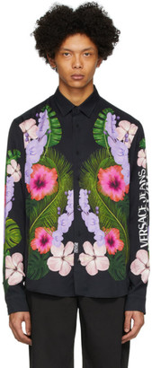 Versace Black Tropical Print Shirt