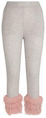 Izaak Azanei Wool-Cashmere Fur Trim Sweatpants