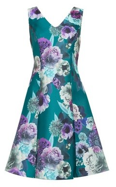 Dorothy Perkins Womens **Luxe Green Jade Floral Print Prom Dress, Green