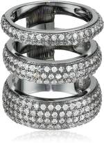 Noir Three Circle Clear Cubic Zirconia Ring, Size 7