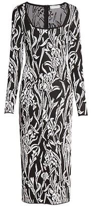 Givenchy Smocked Iris Jacquard Midi Dress