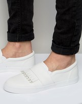Asos Slip On Plimsolls In White With Fringe And Studs