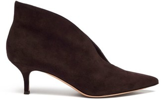 Gianvito Rossi Vania 55 Suede Ankle Boots - Womens - Dark Brown