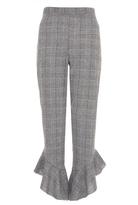 Quiz Grey Check Frill Hem Trousers