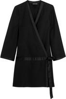Vanessa Seward Candide Satin-Trimmed Wool-Gabardine Mini Dress