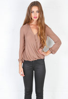 Haute Hippie Drape Front Long Sleeve Blouse in Taupe