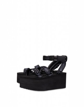Moschino Logo Tape Wedge Sandals Woman Black Size 35 It - (5 Us)