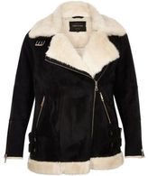 River Island Womens Plus black shearling aviator jacket