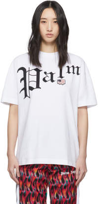 Palm Angels White New Gothic T-Shirt