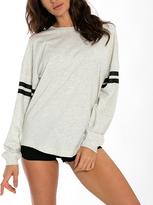 Oatmeal & Black Stripe Oversize Crewneck Sweatshirt
