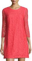 Cynthia Steffe Three-Quarter Lace Dress, Safflower