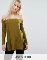 Asos Off Shoulder Slouchy Top With Side Split
