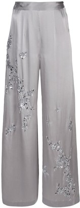 Josie Natori Couture Beaded Wide Leg Trousers