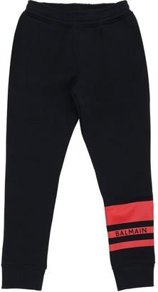Balmain Logo Print Cotton Blend Sweatpants