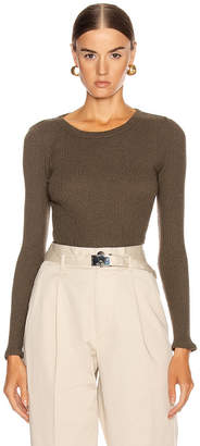 Enza Costa Cashmere Poorboy Rib Long Sleeve Crew Top in Olive Drab   FWRD