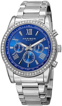 Akribos XXIV Men's Swiss Quartz Swarovski Crystals Dual-Time Stainless Steel Silver-Tone Bracelet Watch - BLue
