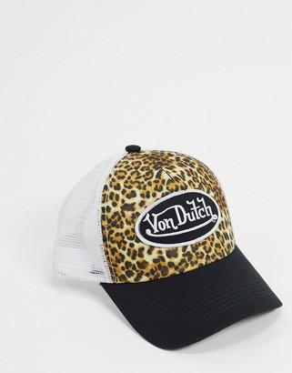 Von Dutch leopard print logo cap