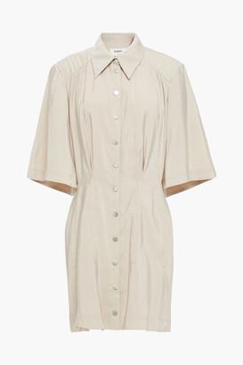 BA&SH Cara Gathered Sateen Mini Shirt Dress