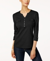 Karen Scott Petite Cotton Utility Henley Top, Created for Macy's