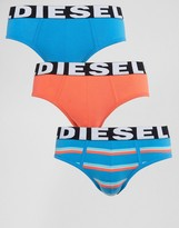 Diesel Stripe Brief 3 Pack Blue
