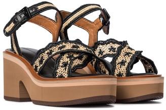 Clergerie Charlize raffia platform sandals