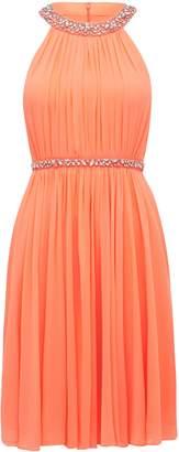 Forever New Alya Embellished Neck Dress - Coral - 12