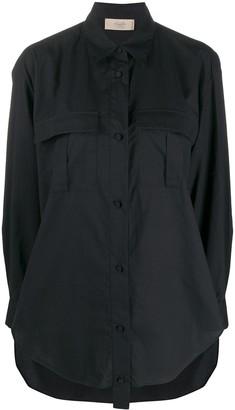 Maison Flaneur Long-Sleeved Curved Hem Shirt