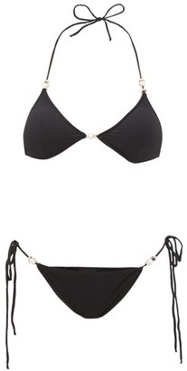 Leslie Amon Bianca Faux-pearl And Crystal-embellished Bikini - Black