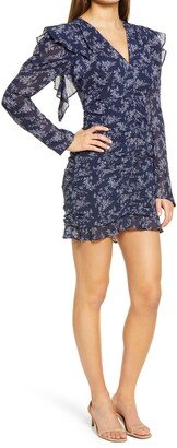 Endless Rose Floral Ruched Long Sleeve Minidress