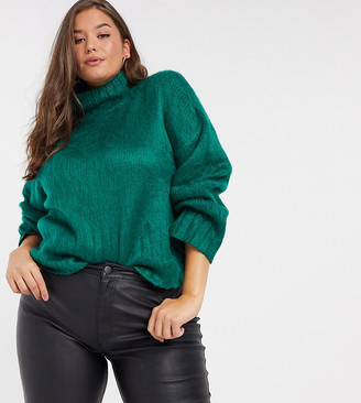 ASOS DESIGN Curve fluffy boxy high-neck jumper in green