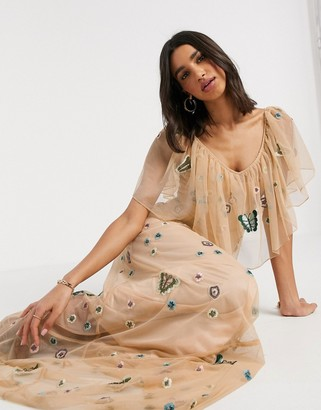 Frock and Frill embellished off shoulder mesh maxi dress in pink