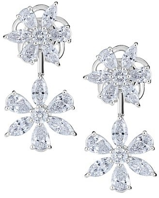 Zydo Luminal 18K White Gold & Diamond Flower Drop Earrings