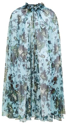 Erdem Perdita Fitzroy Rose-print Silk Cape - Blue Multi