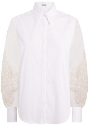 Brunello Cucinelli Embroidered Sleeve Shirt