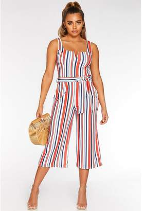 Quiz Petite White Red and Blue Culotte Jumpsuit