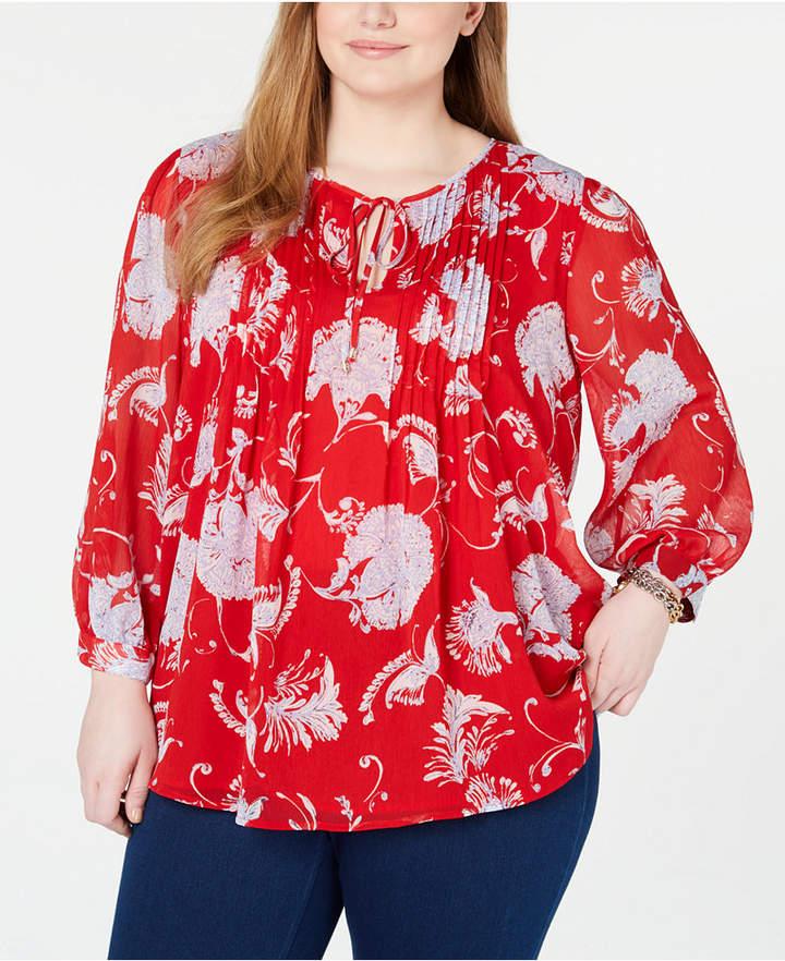 Tommy Hilfiger Plus Size Pintuck Floral Blouse