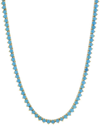 Jennifer Meyer Turquoise Three Prong Tennis Necklace - Yellow Gold