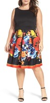 Gabby Skye Plus Size Women's Mixed Media Fit & Flare Dress