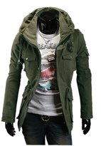 Fine-men clothes Fine Mens Military Style Hipster Hooded Long Sleeve Jacket Coat L