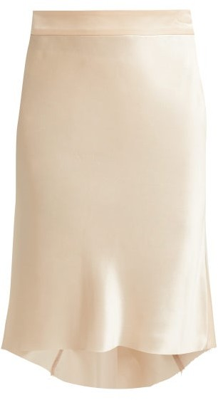 Raey Bias Godet Silk-satin Slip Skirt - Womens - Nude