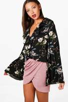 boohoo Tall Lucie Ruffle Floral Wide Sleeve Blouse