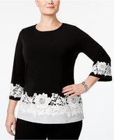 Charter Club Plus Size Colorblocked Lace-Trim Top, Only at Macy's
