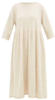 LAUREN MANOOGIAN Raw-edged Alpaca-blend Dress - Ivory