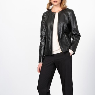 Anne Weyburn Nappa Leather Collarless Bomber Jacket