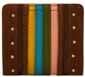 Fossil Women's Logan Small Striped Bifold Leather Wallet