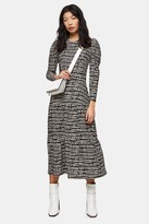 Topshop Womens Petite Black And White Abstract Tiered Midi Dress - Monochrome