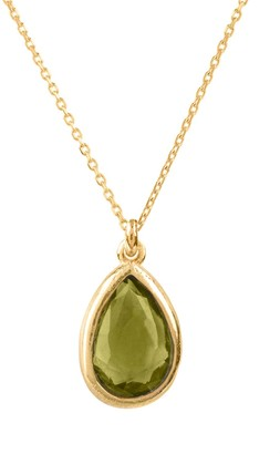 Latelita Pisa Mini Teardrop Necklace Gold Peridot