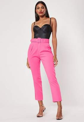 Missguided Fuchsia Square Buckle Belted Cigarette Pants